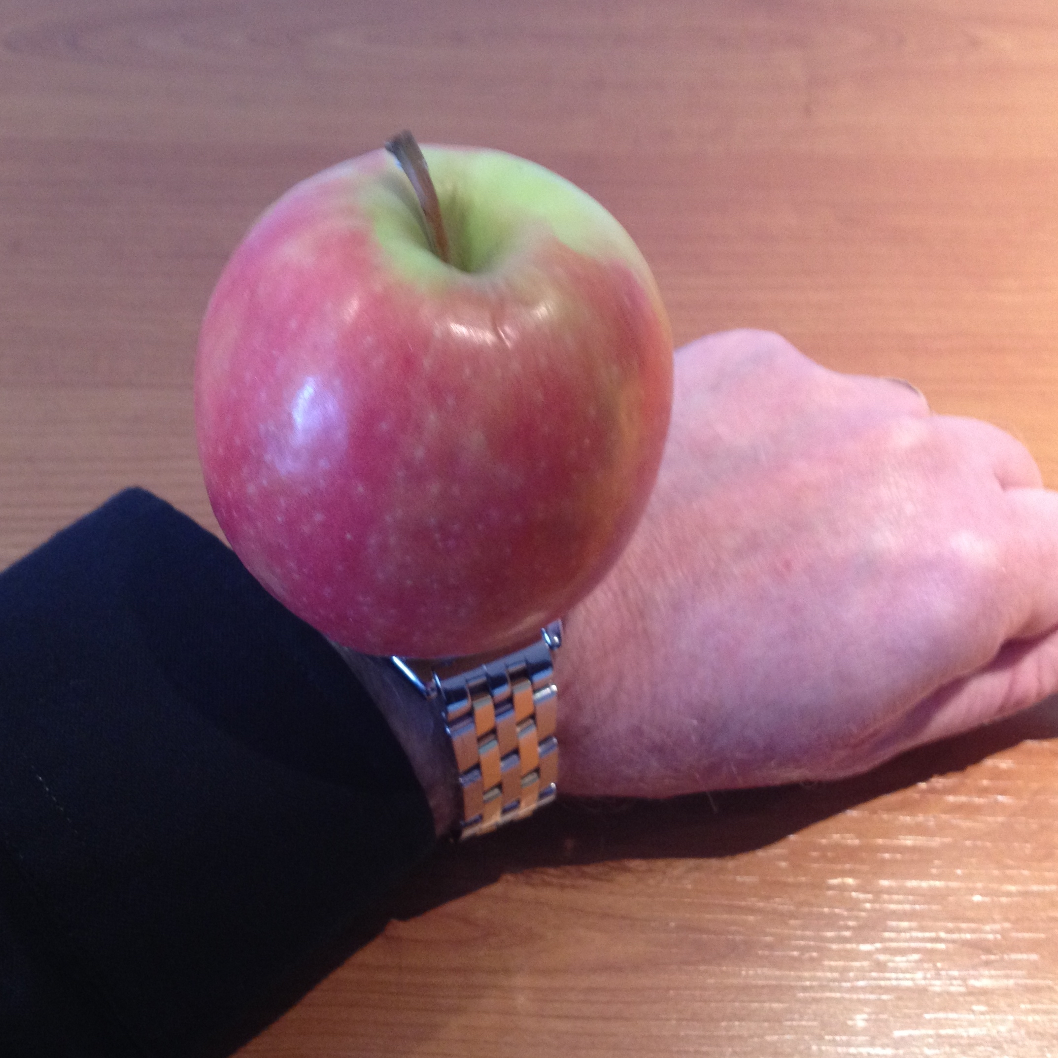 A photograpgh of my lower left arm in a black shirt with a red and green apple sitting on top of a traditional watch to appear I am wearing an apple on a watchband