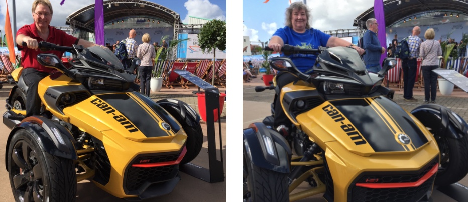 Two similar photographs of the author and his wife both sat astride a Can-Am three wheeled motorcycle