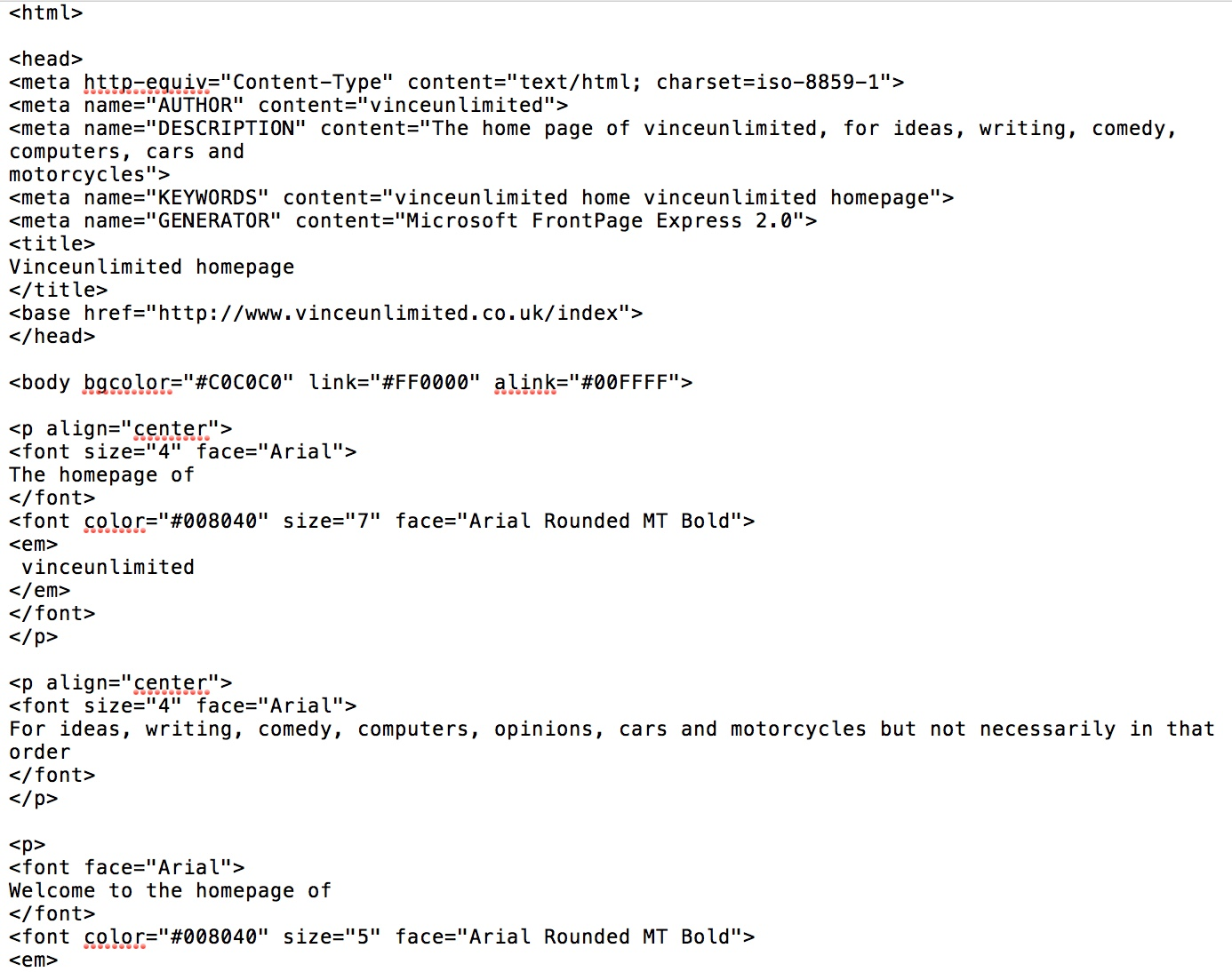 Textedit extract from vinceunlimited html home web page